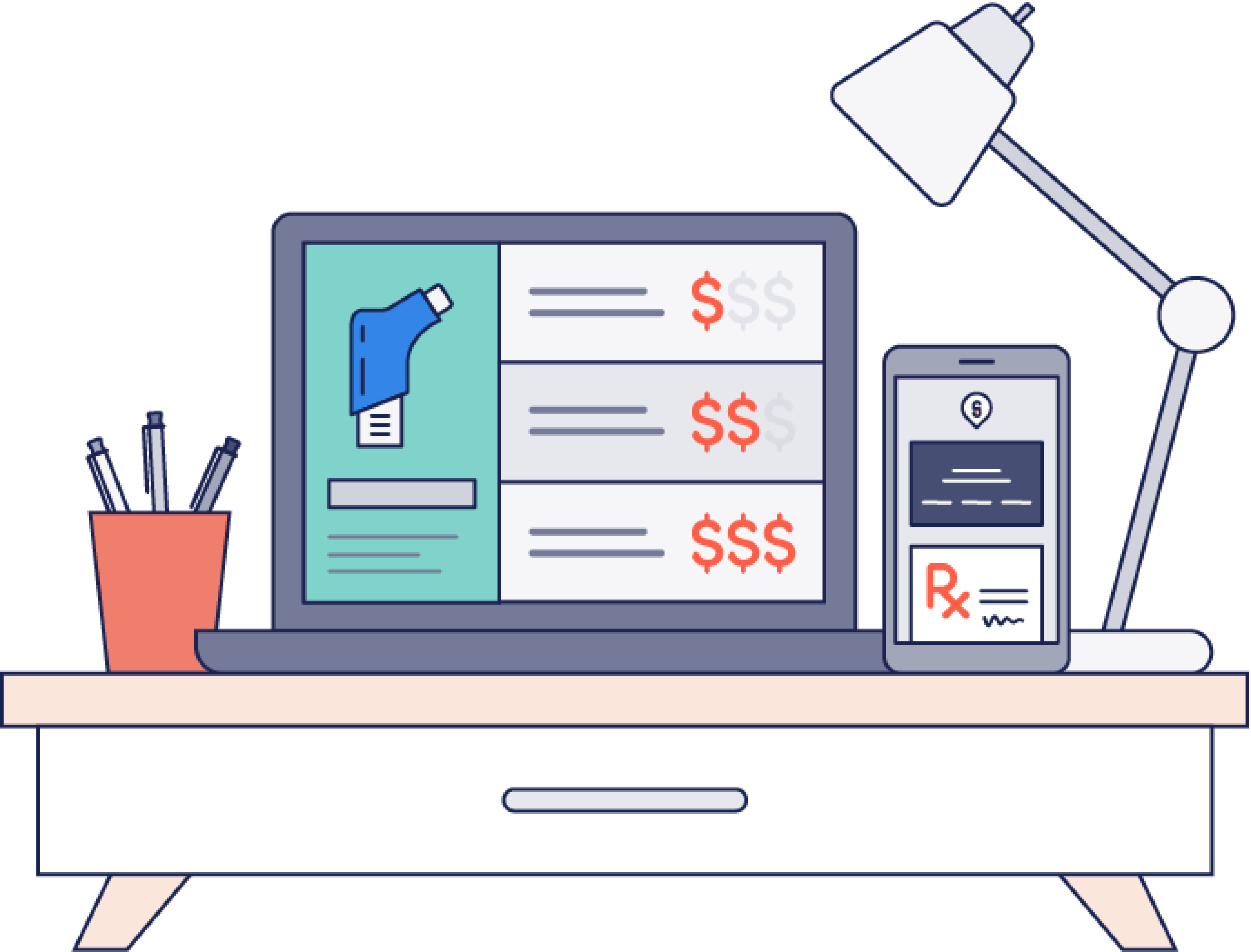Illustration depicting a computer on a desk with ScriptHero discount savings displayed on it