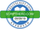 Logo indicates that scripthero.com is legitscript.com approved